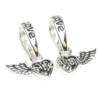 Queenberry Sterling Silver Wife and Husband Forever Love Wing Dangle Heart European Charm