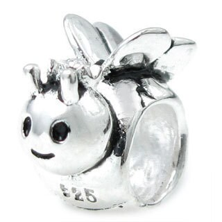 Queenberry Sterling Silver Sweet Honey Queen Bee European Bead Charm