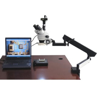 AmScope 3.5x-90x Articulating Stereo Microscope with 54-LED Light and 9MP Digital Camera