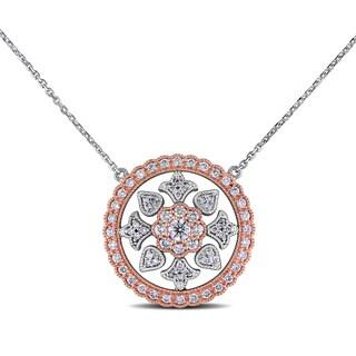 Miadora Design 14k Two-tone Gold 1ct TDW Diamond Circle Necklace