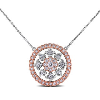 Miadora Design 14k Two-tone Gold 1ct TDW Diamond Circle Necklace