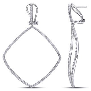 Miadora 14k White Gold 3/4ct TDW Diamond Dangle Earrings