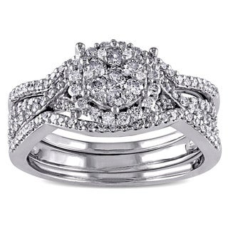 Miadora Signature Collection 10k White Gold 3/4ct TDW Diamond Cluster Split Shank Bridal Ring Set