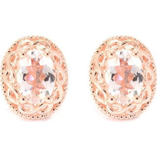 18k Rose Gold over Sterling Silver Oval-cut Morganite Stud Earrings