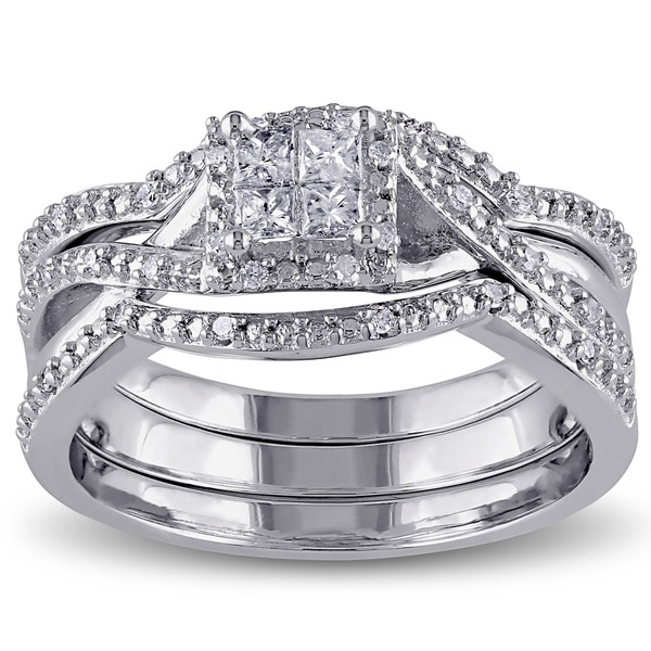 Miadora Sterling Silver 1/3ct TDW Princess and Round-cut Split Shank Diamond Bridal Ring Set