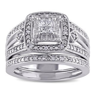 Miadora Sterling Silver 1/4ct TDW Princess-cut Diamond Bridal Ring Set