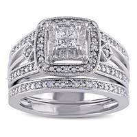 Miadora Sterling Silver 1/4ct TDW Princess-cut Diamond Bridal Ring Set