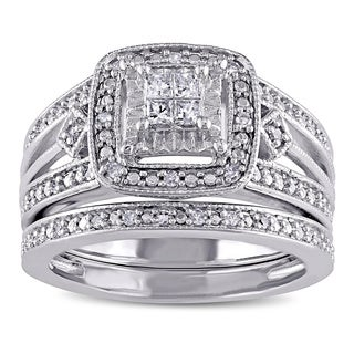 Miadora Sterling Silver 1/4ct TDW Princess-cut Diamond Bridal Ring Set (More options available)