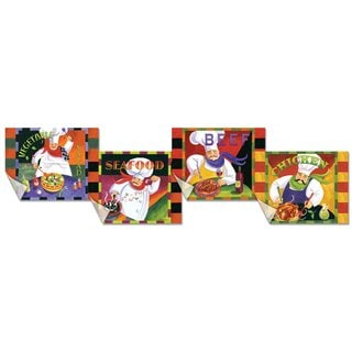 Flexible Cutting Mats Food Group Chefs Design (Set of 4)
