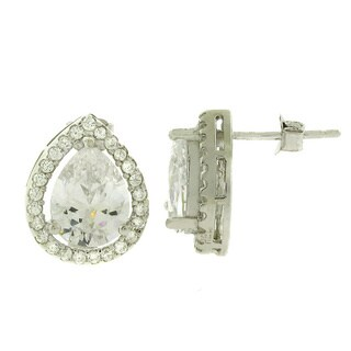 Sterling Silver Cubic Zirconia Pear Cut Micro Pave Stud Earrings