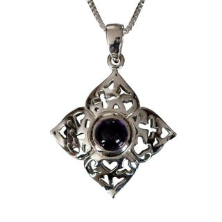 Sterling Silver Round Cabochon Amethyst Floral Design Necklace (Thailand)