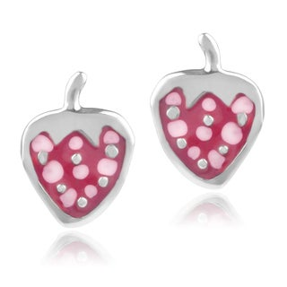 Journee Collection Sterling Silver Strawberry Stud Earrings