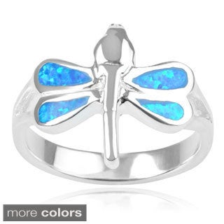 Journee Collection Sterling Silver Opal Dragonfly Ring