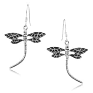 Journee Collection Sterling Silver Handcrafted Dragonfly Earrings