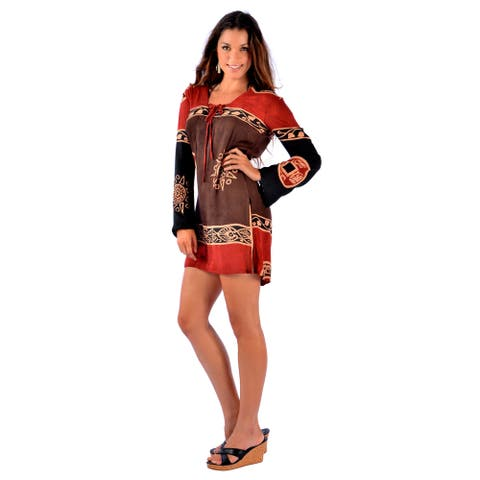 Handmade 1 World Sarongs Abstract Tiki Tunic Cover-up Tunic (Indonesia)