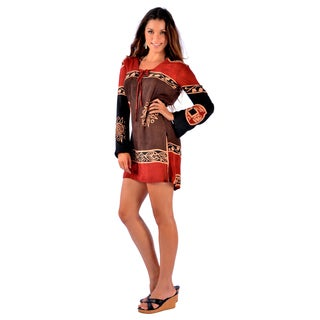 Handmade 1 World Sarongs Brown/ Burgundy Abstract Tiki Tunic Cover-up Tunic (Indonesia)