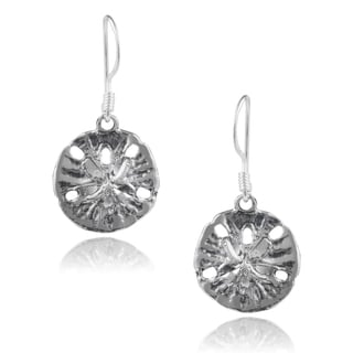 Journee Collection Sterling Silver Handcrafted Sand Dollar Earrings