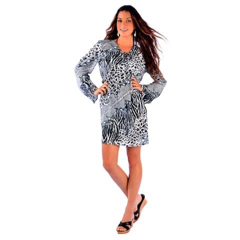 Handmade 1 World Sarongs Women's Black/ White Animal Print Tunic Cover-up (Indonesia)