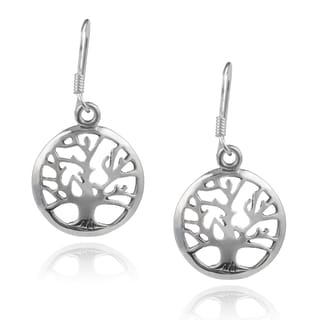 Journee Collection Sterling Silver Handcrafted Round Tree Earrings