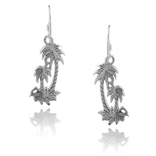 Journee Collection Sterling Silver Handcrafted Palm Tree Earrings
