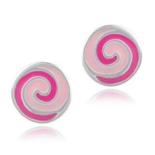 Journee Collection Sterling Silver Swirl Stud Earrings
