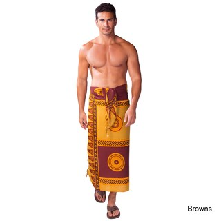 Handmade 1 World Sarongs Men's Yellow/ Black Abstract Tiki Sarong (Indonesia)