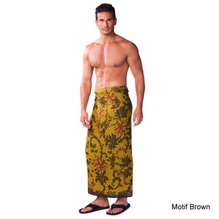 Handmade 1 World Sarongs Men's Traditional Floral Motif Sarong (Indonesia) (2 options available)