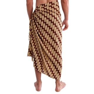1 World Sarongs Men's Traditional Floral Motif Sarong (Indonesia)