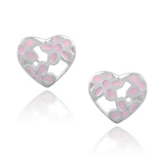 Journee Collection Sterling Silver Heart Stud Earrings