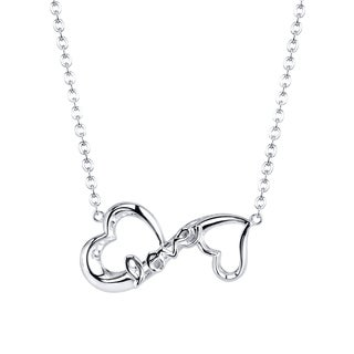 Love Grows Sterling Silver Double Heart 'Love' Necklace