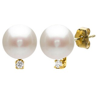 DaVonna 14k Yellow Gold 9-10mm Freshwater Pearl 0.03 Diamond Accent Earrings