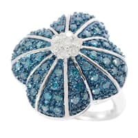 Sterling Silver 1ct TDW White, Blue Diamond Flower Wide Ring