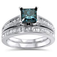 Noori 14k White Gold 1 3/5 TDW Blue Diamond Engagement Ring Set
