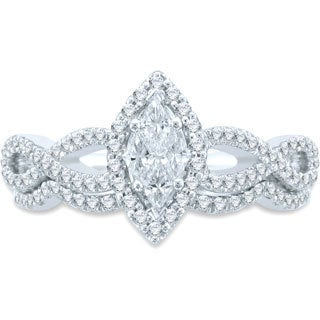 Unending Love 14k White Gold 3/4ct TDW Cushella Marque Pie Cut Bridal Set (H-I SI3, I1-I2)