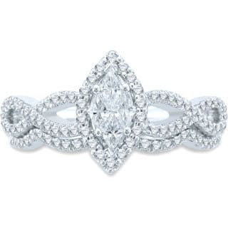 Unending Love 14k White Gold 3/4ct TDW Cushella Marque Pie Cut Bridal Set (H-I SI3, I1-I2)|https://ak1.ostkcdn.com/images/products/9792339/P16960752.jpg?impolicy=medium