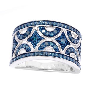 Sterling Silver 1/2ct TDW Blue Diamond Art Deco Ring (I2-I3)