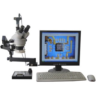 AmScope 3.5x-90x Articulating Stereo Microscope with 80-LED Light and 5MP USB Digital Camera
