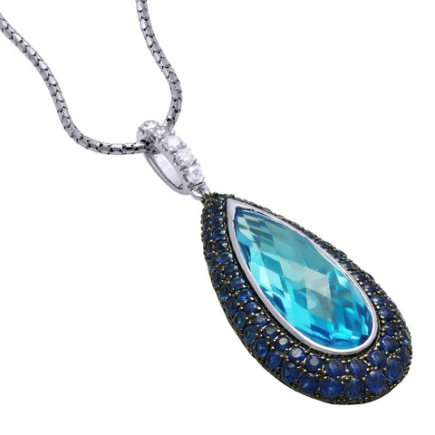 14k White Gold Topaz Sapphire 1/5ct TDW Diamond Necklace (H-I, SI1-SI2)