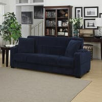 Handy Living Tevin Navy Blue Velvet Convert-a-Couch Storage Arm Futon Sofa