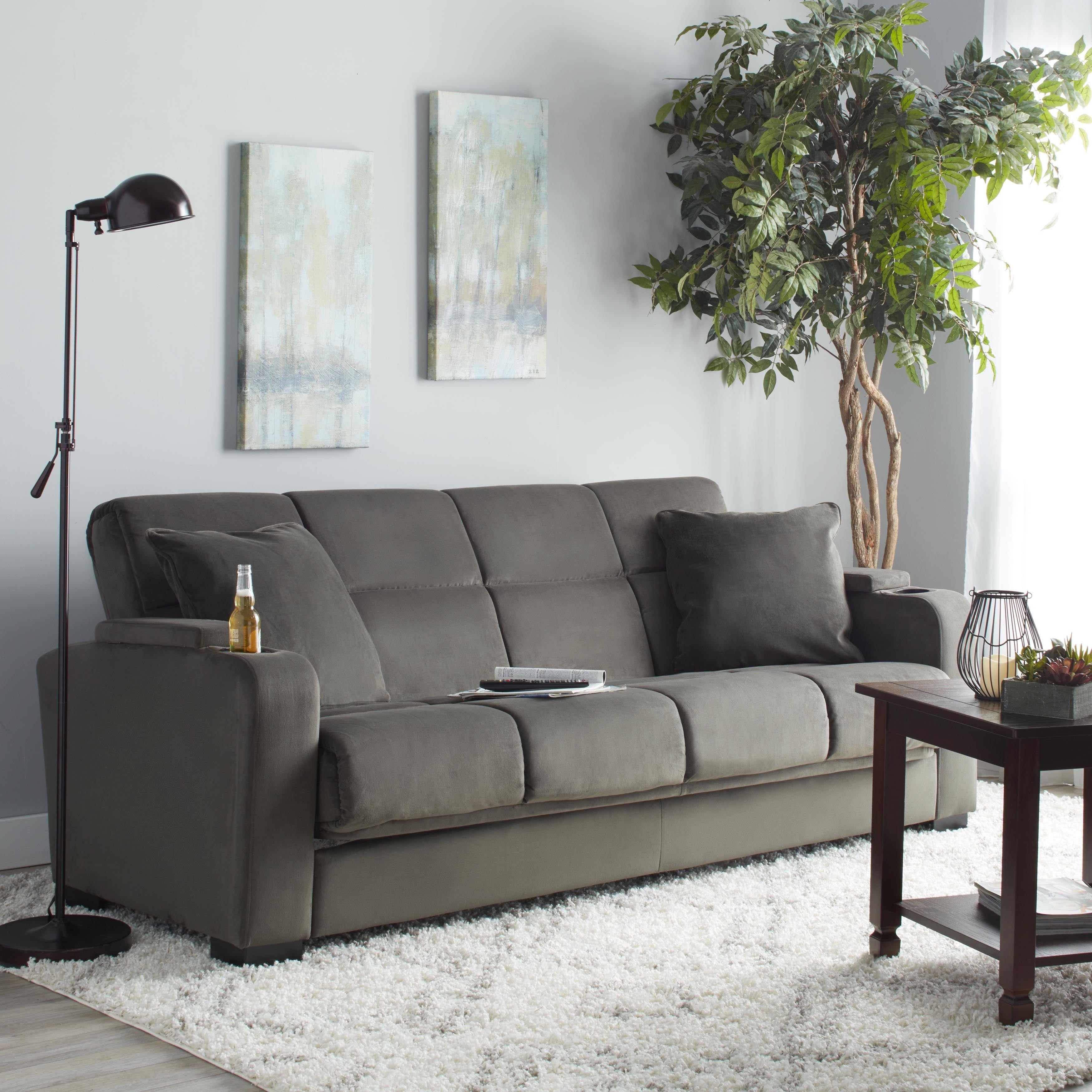 Clay Alder Home Klingle Grey Velvet Convert A Couch Futon Sofa Sleeper