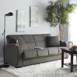 handy living tevin grey velvet futon sofa sleeper
