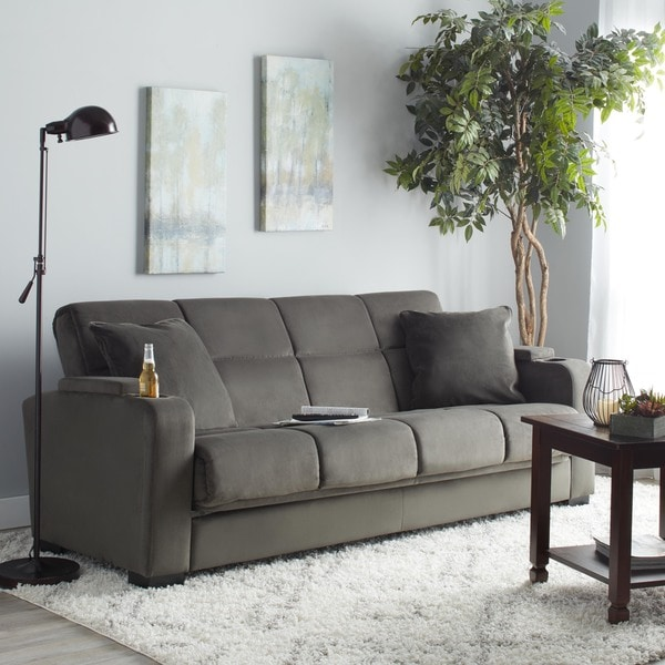 handy living tevin gray velvet convert a couch storage arm futon sofa