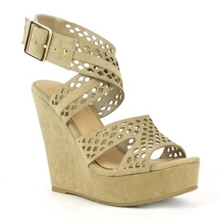 Mark and Maddux Women's Robert-08 Diamond cut-out Lithe Strappy Wedge