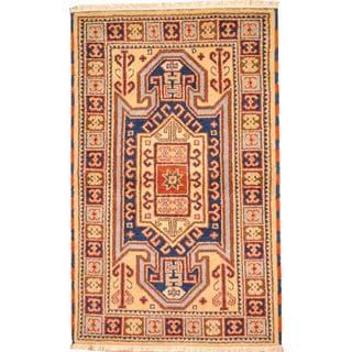Herat Oriental Indo Hand-knotted Tribal Kazak Beige/ Navy Wool Rug (3' x 5')