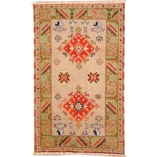 Herat Oriental Indo Hand-knotted Tribal Kazak Gray/ Red Wool Rug (3' x 5')