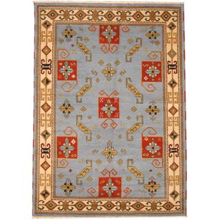 Herat Oriental Indo Hand-knotted Tribal Kazak Blue/ Red Wool Rug (5'9 x 7'11)