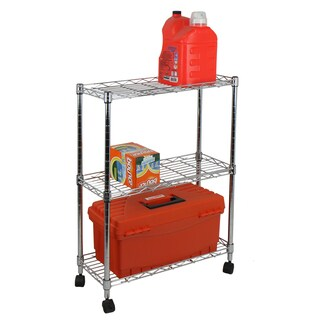 Oceanstar Chrome Steel 3-tier Shelving All-purpose Utility Cart