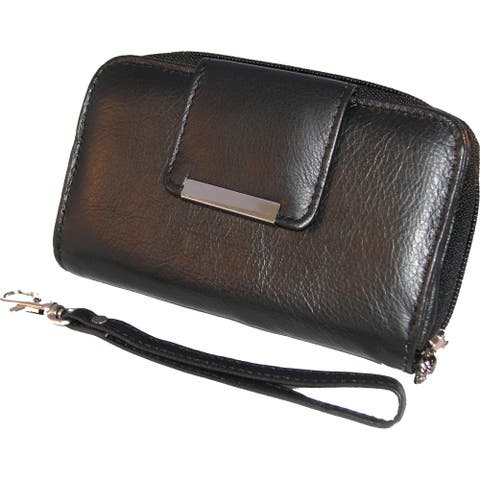 Continental Women's Leather Wristlet Accordion-style Smartphones Wallet