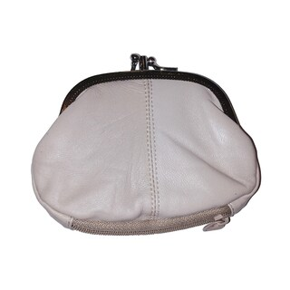 Continental Leather Double Metal Snap Kiss Lock Frame Coin Purse (Option: BEIGE)