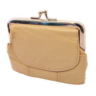 Continental Leather Metal Snap Kiss Lock Frame Coin Purse (Option: BEIGE)